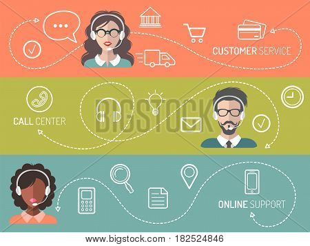 Vector set of call center, customer service, online support banners in trendy flat style