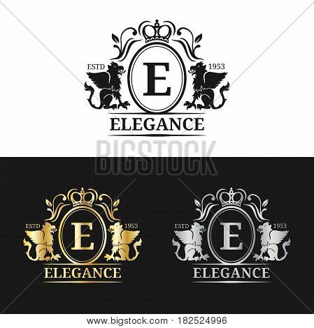 Vector monogram logo template. Luxury letter design. Graceful vintage character with griffin symbols illustration. Used for hotel, restaurant, boutique, jewellery invitation, business card etc.