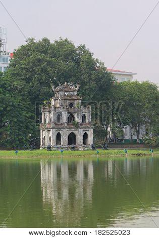 Hoan Kiem lake cityscape in Hanoi Vietnam