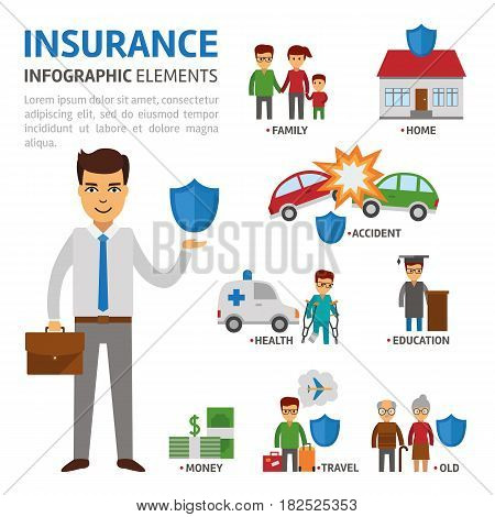 Insurance broker infographic elements, vector flat illustration on white background. Protection of people in difficult situations. Insurer with shield stock vector