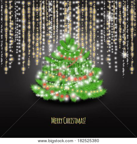 Merry Christmas with Christmas tree on and lights on the black background.Stock vector