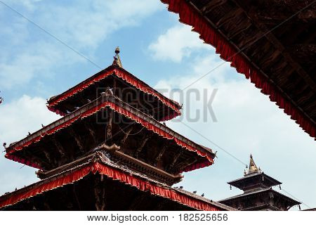 One of the multi-level pagodas that survived the 2015 earthquake in Durbar Square Kathmandu.