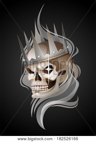 Graphic skull with fearful smile in the silver crown surrounded by gray smoke. Vector tattoo art isolated on black background