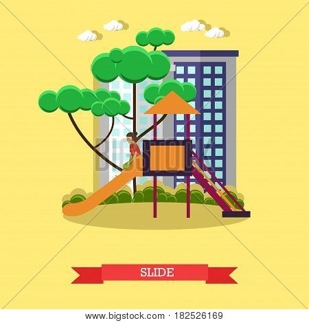 Vector illustration of child girl sliding down the slide in playground. Slide concept design element in flat style.