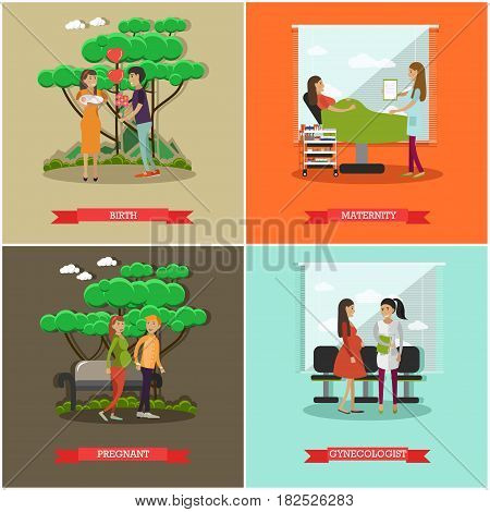 Vector set of maternity hospital posters in flat style. Birth, Maternity, Pregnant and Gynecologist flat style design elements.