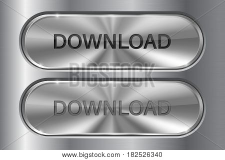 Metal oval button on stainless steel background. DOWNLOAD 3d icon. Set of active and normal buttons. Vector illustration