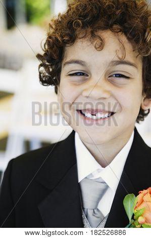 Boy wearing tuxedo