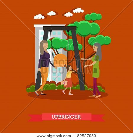 Kindergarten upbringer concept vector illustration. Preschool teacher meeting girl, attending playschool, with her mother in playground in the morning. Flat style design.