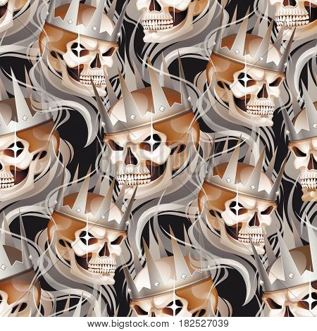 Graphic skull with fearful smile in the silver crown surrounded by gray smoke. Vector seamless pattern
