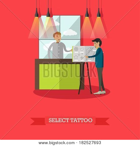 Vector illustration of professional tattoo artist and his client selecting tattoo sketch. Tattoo studio flat style design element.