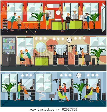 Vector set of barbershop, hair salon and tattoo studio posters, banners. Flat style design elements.