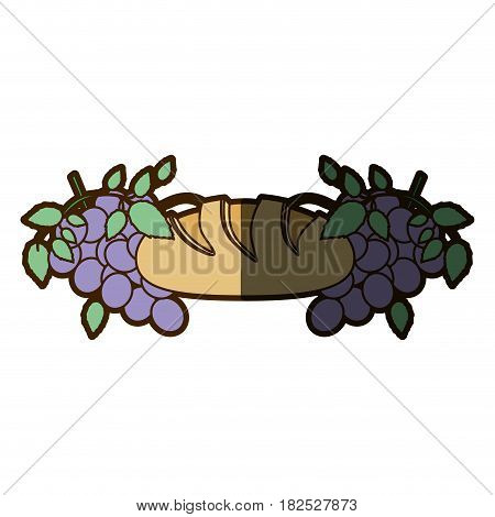 color background with communion religious icons of bread and grapes with half shadow vector illustration
