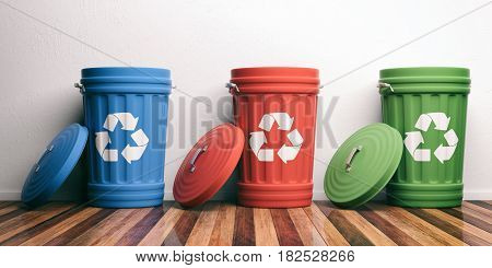Recycle Trash Bins On Wooden Floor. 3D Illustration