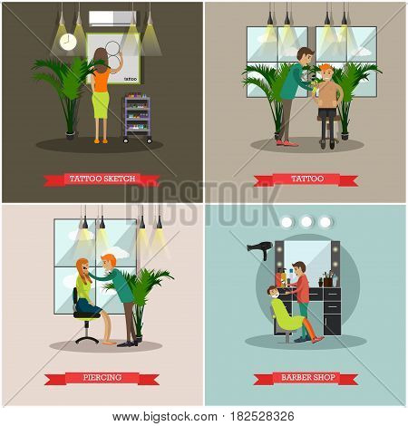 Vector set of barbershop and tattoo studio posters. Tattoo and Tattoo sketch, Piercing and Barber shop flat style design elements.