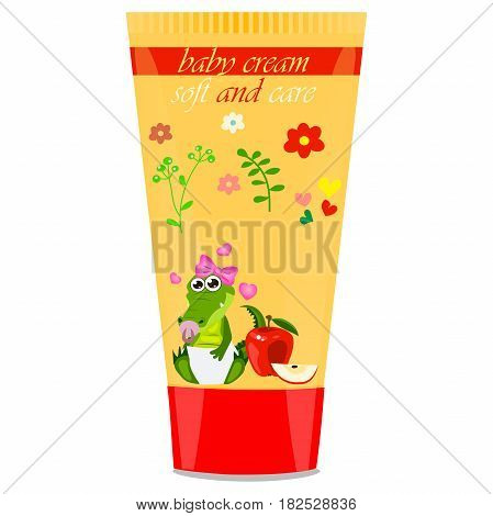 High quality original trendy vector apple Baby cream tube with kids design and crocodile or alligator on floral background illustration