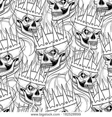 Graphic skull with fearful smile in the crown surrounded by smoke. Vector seamless pattern. Coloring book page design for adults