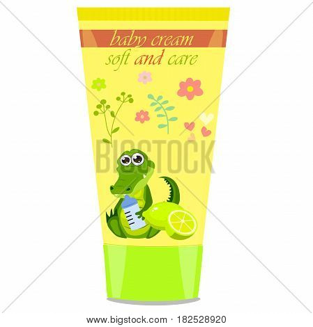 High quality original trendy vector lime Baby cream tube with kids design and crocodile or alligator on floral background illustration