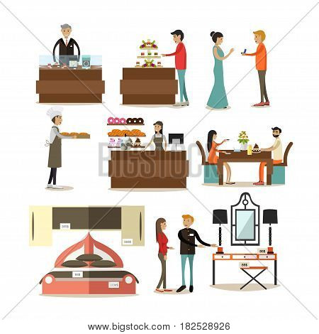 Vector icons set of jewelry shop, bakery and furniture store interior, buyers and sellers cartoon characters isolated on white background. Flat style design elements.