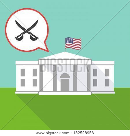 The White House With  Two Swords Crossed