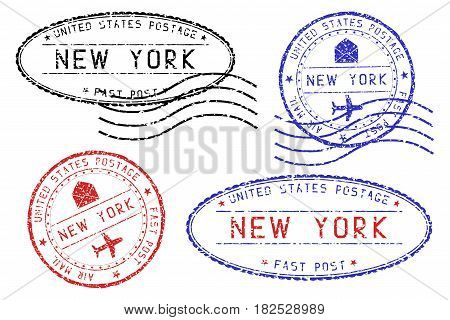 New York mail stamps collection. Faded colored impress. Vector illustration isolated on white background