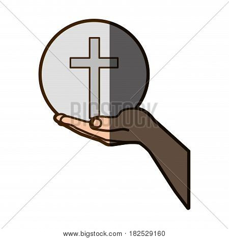 color silhouette of hand extended with sphere with cross symbol with half shadow vector illustration