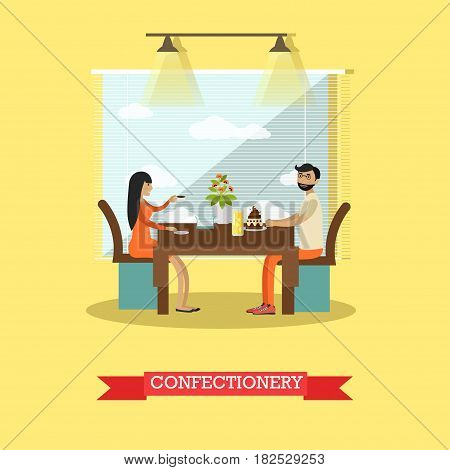 Vector illustration of couple sitting at table and enjoying sweet pastry with coffee and lemonade. Confectionery or patisserie flat style design element.