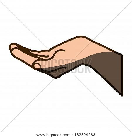 color silhouette of hand extended with half shadow vector illustration