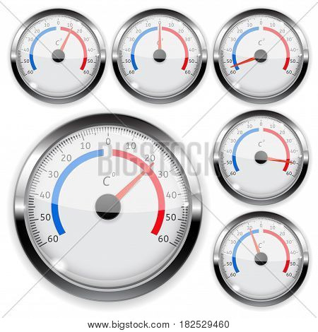 Round weather thermometer with chrome frame. Vector illustration isolated on white background