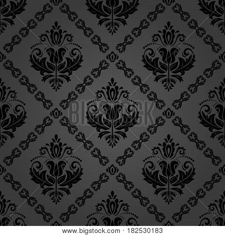 Orient vector classic pattern. Seamless abstract background with repeating elements. Orient dark background