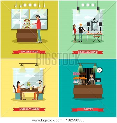 Vector set of shops square posters. Jewelry shop, Furniture store, Confectionery and Bakery flat style design elements.
