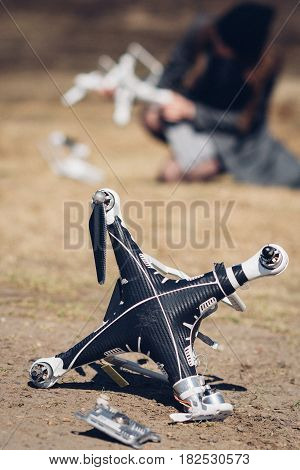 Drone accident. Crashed copter. Quadcopter after an collision