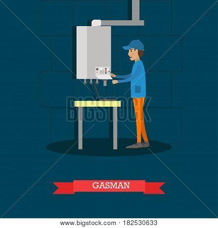 Vector illustration of worker installing or repairing gas boiler. Gasman concept flat style design.