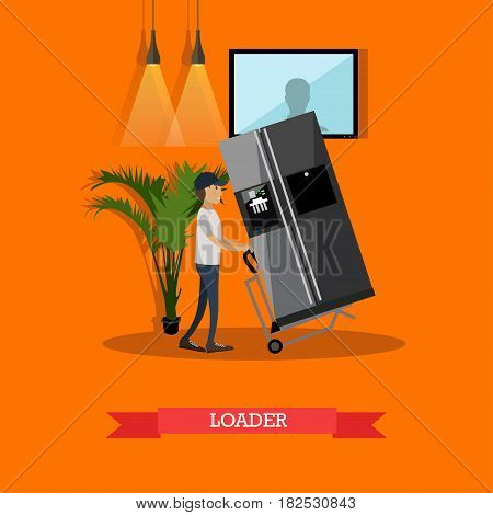 Vector illustration of porter pushing cart with fridge. Moving and delivery company services. Loader concept flat style design element.