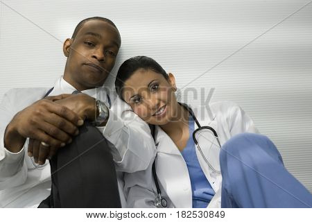 Tired doctors relaxing