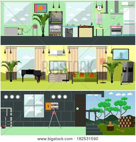 Vector set of working interior posters, banners. Plumbing, electric, gas and moving company services flat style design elements.
