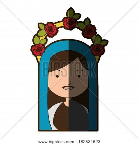 white background of colorful half body beautiful virgin with crown of roses and blue mantle with half shadow vector illustration