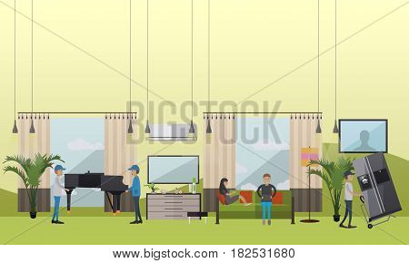 Vector illustration of working loaders. Moving company services concept flat style design element.
