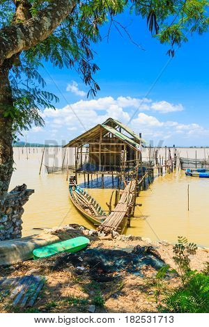 Southern Thai folk fishing With beautiful bright sky.