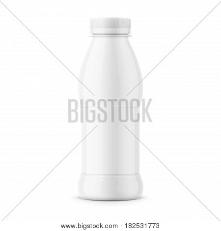 White glossy plastic bottle with screw cap for dairy products, milk, drink yogurt, cream, dessert. Wrapped with a label. 385 ml. Realistic packaging mockup template. Front view. Vector illustration.