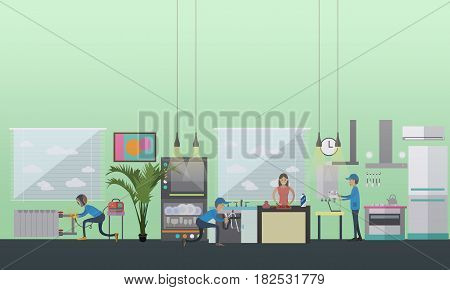 Vector illustration of plumbers repairing or installing sink and copper pipes, gas boiler in house. Plumbing services flat style design elements.