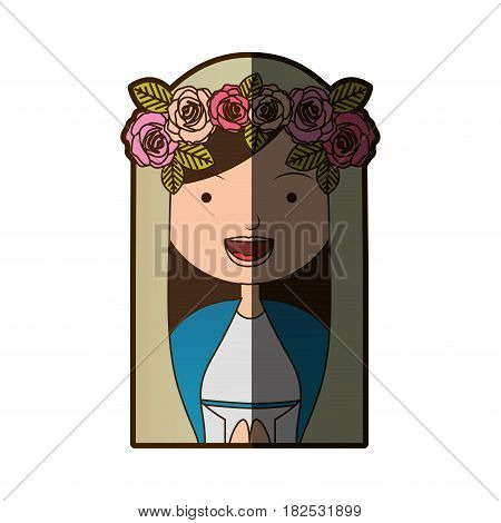 white background of colorful half body beautiful virgin with crown of roses with half shadow vector illustration