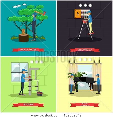 Vector set of workers profession posters. Woodcutter, Electrician, Plumber and Moving companies flat style design elements.