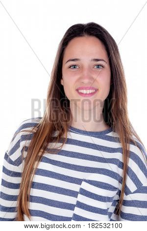 Pretty teenager girl with sixteen years old isolated on a white background