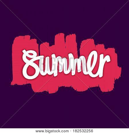 Bright and funny handwritten inscription - Summer. Hand-drawn paintbrush smear. Vector illustration