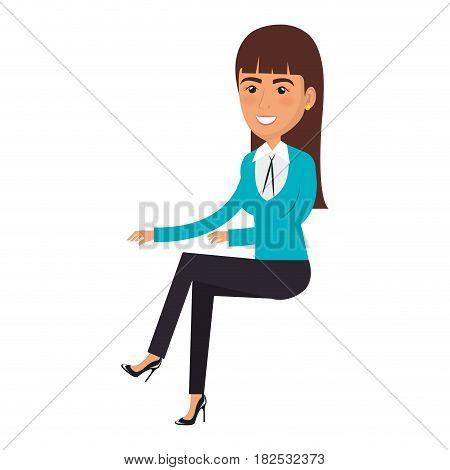 businesswoman doing seated pose vector illustration design