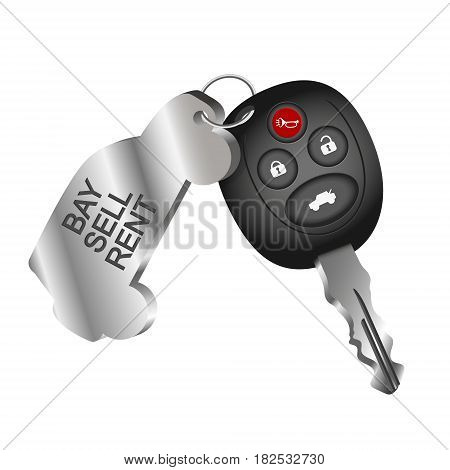 Car key symbol for car rental. Sale and purchase of cars.