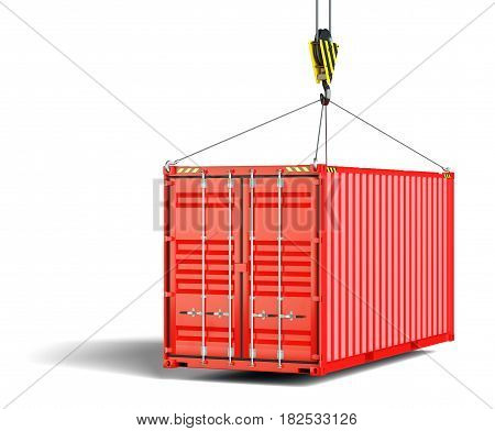 A metallic red shipping container hangs on the lifting hook and slings. White background. Container closed. 3d illustration
