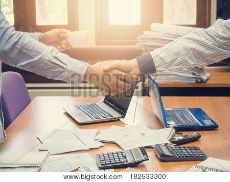 Business concept of office working business background Vintage effect