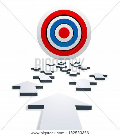 A bright target for darts on a white background. The path to the target is indicated by the gray arrows. Isolated. 3d illustration