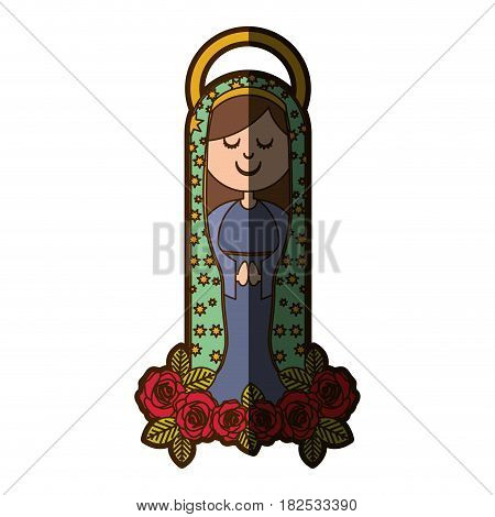 white background of virgin of guadalupe and ornament of roses with half shadow vector illustration